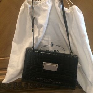 Prada Vintage Black Shiny Crocodile Shoulder Bag